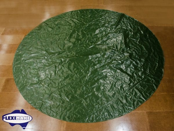 Green Round baseball tarp on the factory floor