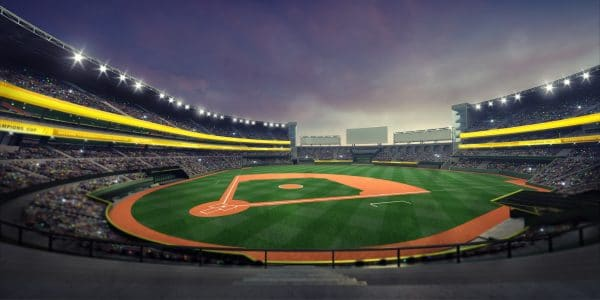 Baseball field in a stadium at night