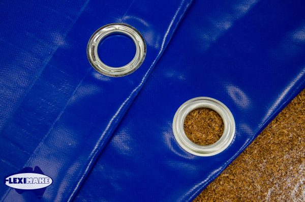 Fleximake container tarps with eyelets