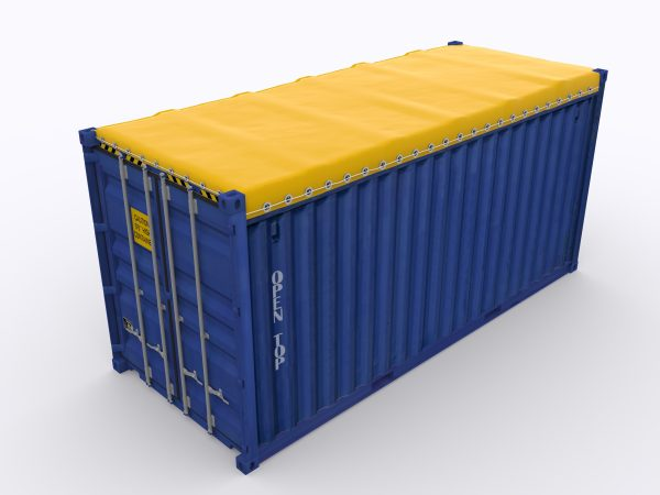 Blue shipping container covered by yellow shiping container tarp