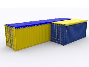 Two shipping container covered by blue and yellow container tarps